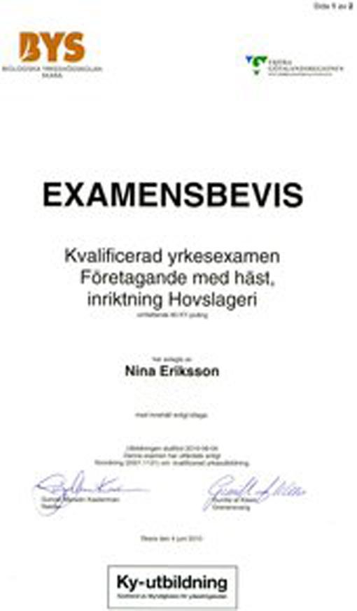 Hovslagare Nina Eriksson